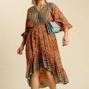 Umgee Plus Paisley Orange Ruffled Sleeve Dress